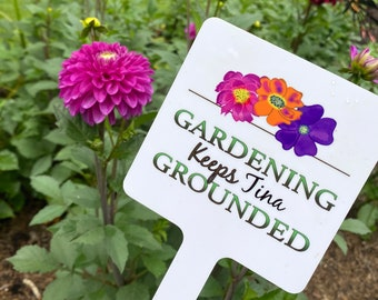 Custom Garden Sign with Stake, Personalized Garden Sign, Metal Garden Marker, Aluminum Sign with Stake