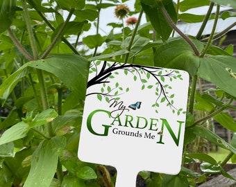 Metal Garden Sign with Stake, Aluminum Garden Marker, Sign for Pot