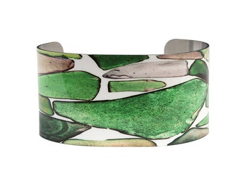 Photo Cuff Bracelet Sea Glass Beach Glass Green