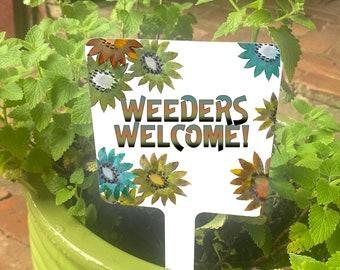 Flower Stake Sign, Small Garden Sign with Stake, Metal Garden Sign, Garden Marker