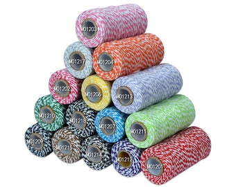 Christmas Twine Cotton Baker's Twine 2 Ply Multi-color Scrapbooking Package Wrap Gift Wrap Cotton Thread Cotton Twine 110 Yard