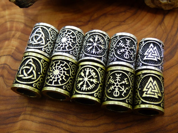 Set of 2 Viking Celtic Dread Bead Stainless Steel Viking Norse Beard Bead Dread Bead Loc Accessory Celtic Bead Dreadlock Silver Dread Bead