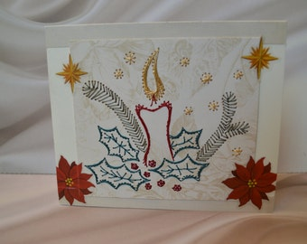 Christmas Card, Candle and holly string art