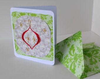 Christmas ornament card. Holliday card. String art.