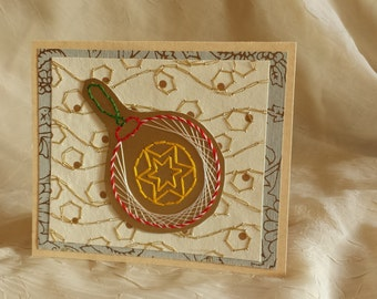 Holiday ornament card. Embroidered ornament