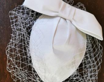 Vintage Birdcage Satin Bridal Hat & Veil