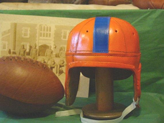 1940   Leather  Florida Gator Orange /& Blue  mini  1//3 scale Football Helmet