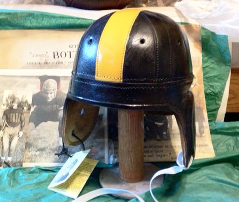 2cddd295d 1940 Antique Pittsburgh Steeler Leather Football Helmet full