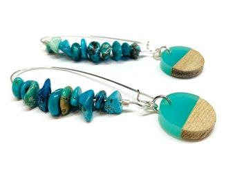 Turquoise and wood / resin hoop earrings