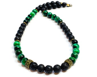 Mens Black Lava Rock and Green Tiger eye Necklace