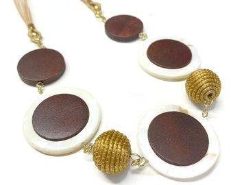 Mother of Pearl Wood and Golden Grass Necklace