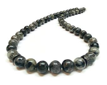 Larvikite-Labradorite Dark Grey coated Lava with Pave beads Necklace
