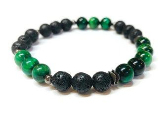 Green Tiger Eye and Lava Rock Bracelet