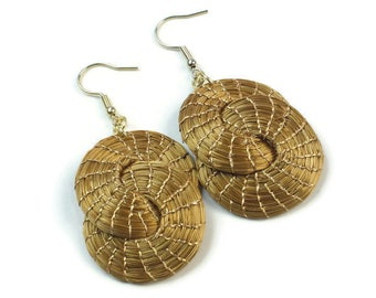 Golden Grass Double Hoop Earrings