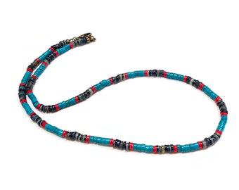 Green Blue Turquoise Heishi / Blue Shell Heishi and Vinyl Necklace