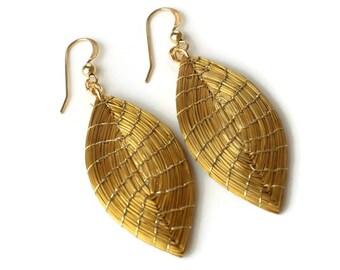 Drop Earrings, Marquise Handwoven Earrings, Leaf Earrings, Organic Earrings, Handmade, Golden Leaf Earrings, Geometric Marquise
