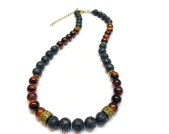 Mens Black Lava Rock and Red Tiger eye Necklace
