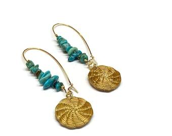 Turquoise Hoop Earrings, Golden Grass Earrings
