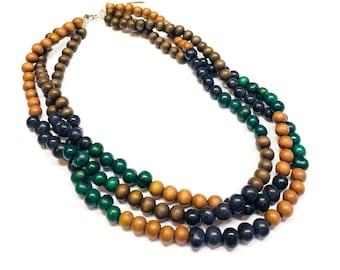 Multi strand Fall/Autumn beaded necklace