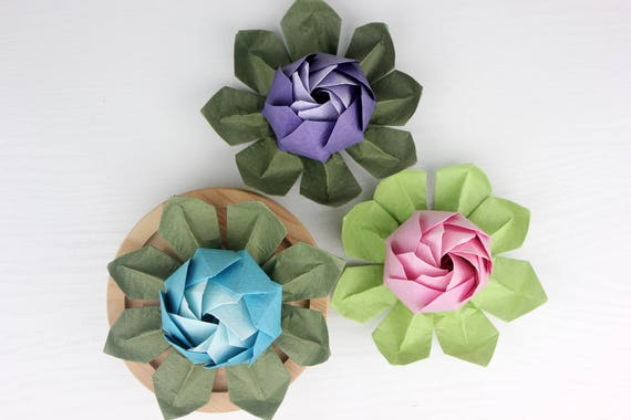 Origami Lotus Flower - Pink and White, Japanese Special Momigami ... | 380x570