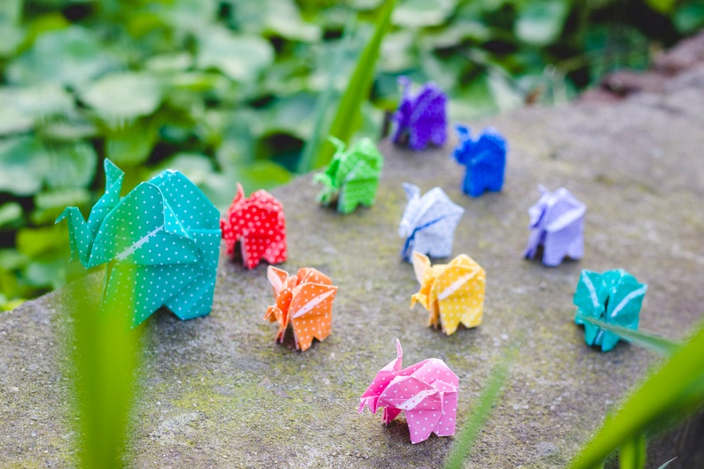 Set of 10 Origami Elephant Handmade Origami Paper Miniature Unique Elephant Gift Rainbow Colors Patterned Elephant Family
