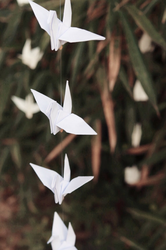 Wedding 100 White Home Decoration Party Handmade Origami Cranes Mobiles.