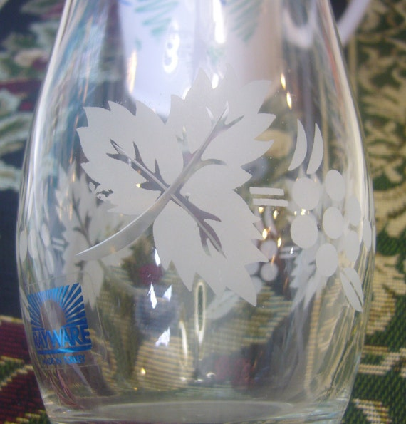 Rayware Etched Glass Vase Made In Turkey Etsy