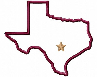 State of Texas applique with Texas star embroidery design download - 5x7 hoop size