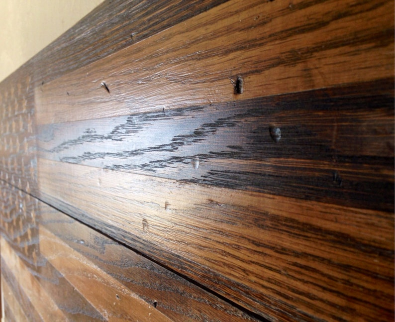 Reclaimed Rustic Stained American Flag Made From Oak Barn