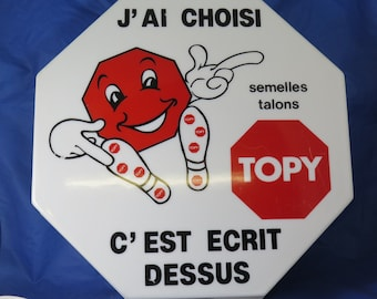 "French illuminated advertising box for ""TOPY"" brand, c1960s"