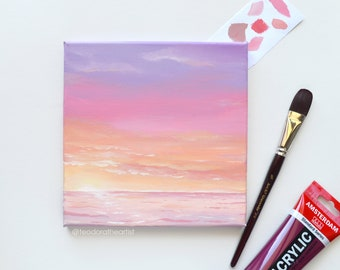 Pink Ocean Art- Original Acrylic Painting on Canvas- Seascape- Small Canvas Art- Mini Painting - Sunset Wall Art- Aesthetic Cotton Candy 8x8