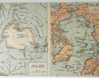 Rare Old Map North Pole & South Pole. Antarctic, Arctic ... Authentic Old Spanish Map!