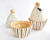 Ceramic Halloween Cupcake Box, Decorated in Orange and Black with Little Bats. Made To Order