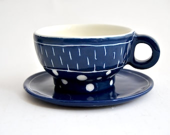 Ceramic Cup and Plate in Electric Blue,  Made with White Clay and Decorated with Stripes and Dots