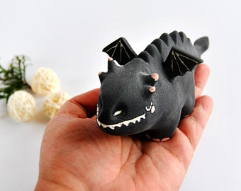 Ceramic Black Dragon Figure with Little Wings and Velvet Touch. Ready to Ship