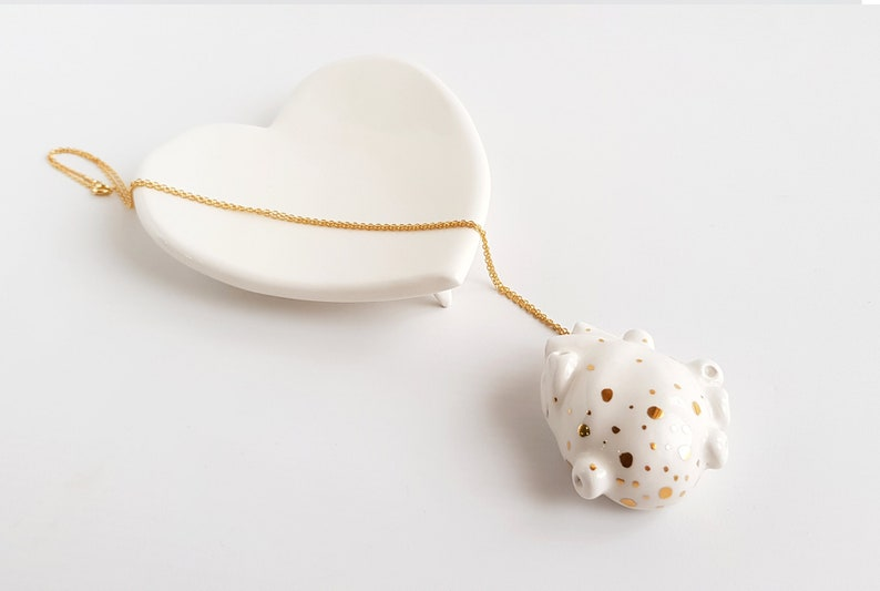 Valentine/'s Heart Necklace Ready to Ship with 22k Real Gold Details and Gold Plated Silver Chain Heart Ceramic Pendant