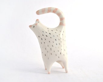 Ceramic Chubby Cat Miniature in White Clay and Decorated with Pigments in Pink and Black. Ready To Ship