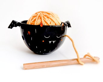 Halloween Special Ceramic Black Vampire Yarn Bowl or Knitting Bowl or Crochet Bowl Decorated in White and Pink. Ready to Ship