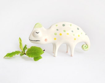 Chameleon Miniature. Maded in White Ceramic with Green and Yellow Polka Dots. Ready To Ship