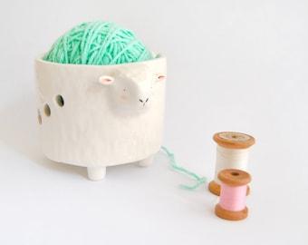 Ceramic Yarn Bowl, White Sheep Shape. Ceramic Knitting Bowl, Sheep Crochet Bowl. Ready to Ship