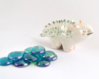 Ceramic Dragon Figure with Green Polka Dots and Little Wings. Ready to Ship