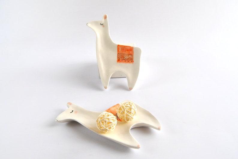 Ceramic LLama Ring Dish or Jewelry Dish. Wedding Gift or image 0