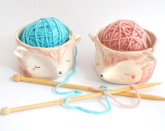 Ceramic Hedgehog Yarn Bowl, Knitting Bowl, Wool Bowl  in White Clay and Decorated with Pigments in Brown and Green Colors. Ready To Ship