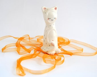 Special Halloween. Little Vampire Figure of Ceramic, with his Cat Sleepwear. Made to Order