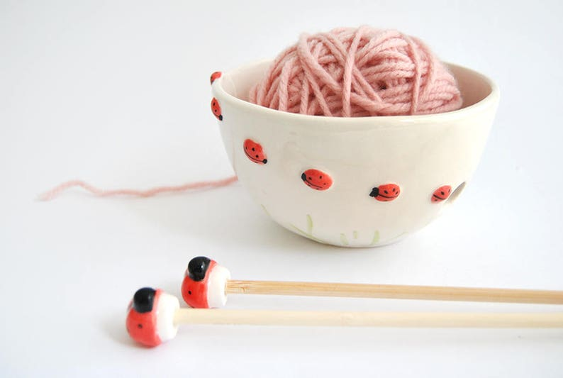 Special Offer. Ceramic Ladybugs Yarn Bowl Knitting Bowl and image 0