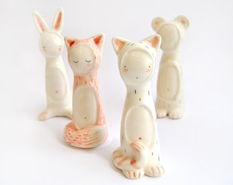 Funny Ceramic Figures, Completely Customizable, with Shapes of Bear, Fox, Cat or Bunny and Decorated with pigments. Ready To Ship