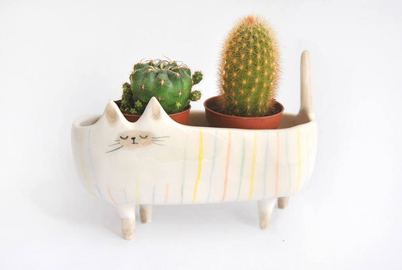 Ceramic Siamese Cat Planter. Siamese Cat Bowl Decorated with image 0