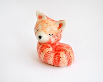 Ceramic Red Panda Miniature, Lesser Panda, Red Panda Totem, in White Clay and Decorated in Red, Orange and Black. Ready To Ship
