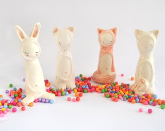 Funny Ceramic Figures, Completely Customizable, with Shapes of Bear, Fox, Cat or Easter Bunny. Ready To Ship