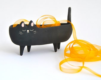 Halloween Special Ceramic black cat planter or Black Halloween cat bowl with velvet texture. Ready to Ship